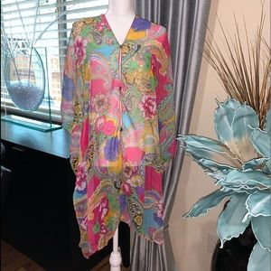 Other - Cute bright colorful sheer swim coverup